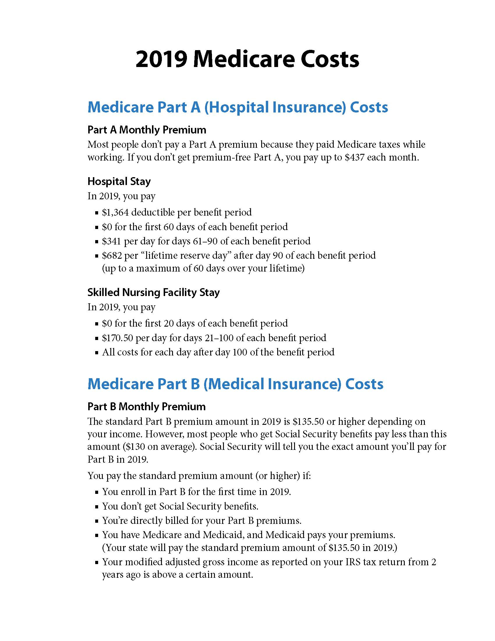 2019 Medicare Costs